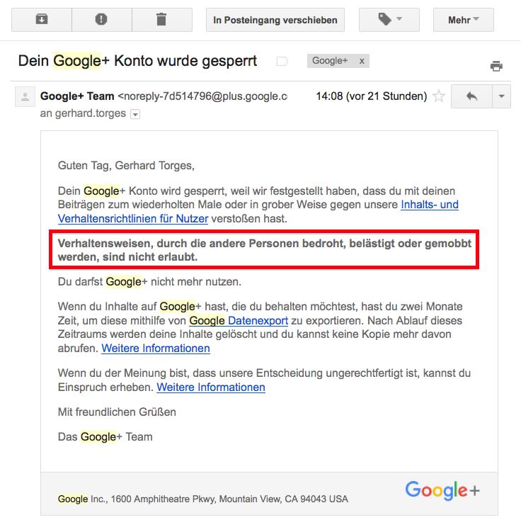 Mail von Google betreffs Löschung